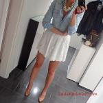 2019 Kot Gömlek Kombinleri Beyaz Kısa Etek Mavi Uzun Kol Kot Gömlek Gold Topuklu Ayakkabı