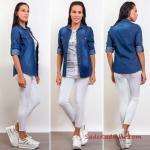 2019 Kot Gömlek Kombinleri Beyaz Skinny Pantolon Gri Tişört Mavi Uzun Kol Kot Gömlek Beyaz Sneaker Spor Ayakkabı