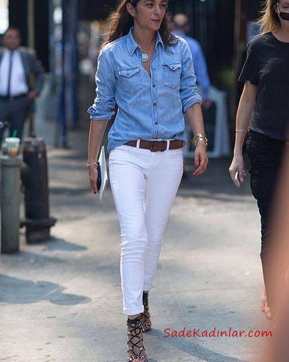 2019 Kot Gömlek Kombinleri Beyaz Skinny Pantolon Mavi Uzun Kol Kot Gömlek Siyah Topuklu Ayakkabı