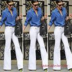 2019 Kot Gömlek Kombinleri Beyaz İspanyol Pantolon Mavi Uzun Kol Kot Gömlek