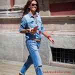 2019 Kot Gömlek Kombinleri Mav Yırtık Mom Jeans Mavi Uzun Kol Kot Gömlek