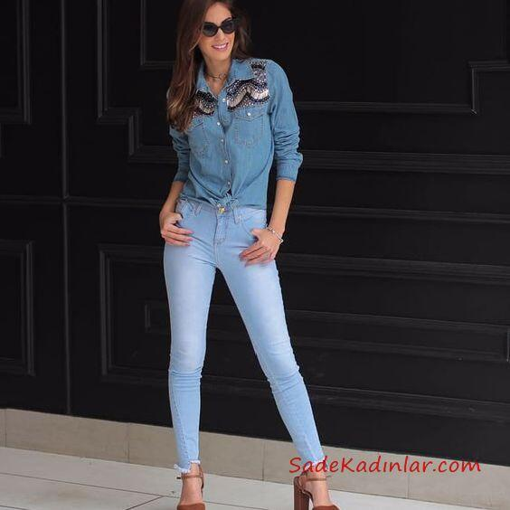 2019 Kot Gömlek Kombinleri Mavi Skinny Pantolon Mavi Uzun Kol Kot Gömlek Kahverengi Topuklu Ayakkabı