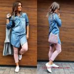 2019 Kot Gömlek Kombinleri Pudra Skinny Pantolon Uzun Kollu Kot Gömlek Beyaz Spor Ayakkabı