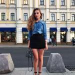 2019 Kot Gömlek Kombinleri Siyah Kısa Etek Mavi Uzun Kol Kot Gömlek Siyah topuklu ayakkabı