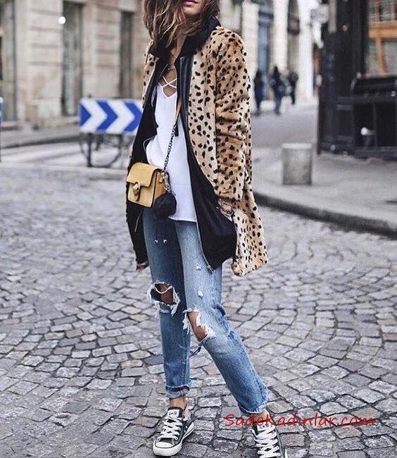 2019 Leopar Desenli Mont Kombinleri Mavi Yırtık Ko tPantolon Beyaz Bluz Leopar Desenli Mont Siyah Spor Ayakkabı