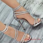 2019 Payetli Ayakkabı Modelleri Gümüş İnce Topuklu Bantlı Fermuarlı