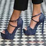 2019 Payetli Ayakkabı Modelleri Lacivert Yüksek Topuklu Bantlı Tokalı