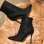 2019 Payetli Ayakkabı Modelleri Siyah İnce Topuklu