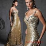 2019 Payetli Elbise Modelleri Gold Uzun Askılı Göğüs Dekolteli Taş İşlemeli
