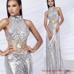 2019 Payetli Elbise Modelleri Gümüş Uzun Kolsuz Balıkçı Yaka Transparan Detaylı
