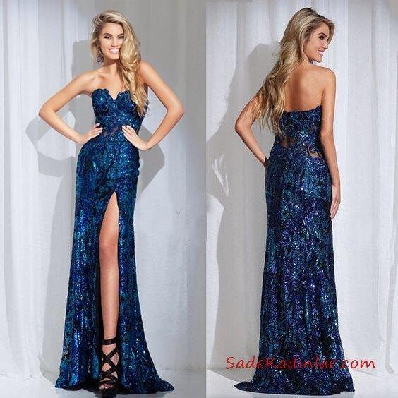 2019 Payetli Elbise Modelleri Lacivert Uzun Straplez Kalp Yaka Yırtmaçlı