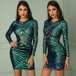 2019 Payetli Elbise Modelleri Yeşil Kısa Uzun Kol Transparan Detaylı