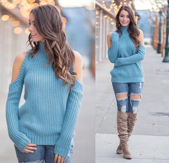 2022 Sonbahar Kış Günlük Sokak Kombinleri Mavi Yırtık Kot Pantolon Mavi Boğazlı Kazak Kahverengi Uzun Çizme