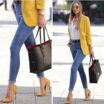 2021 Sonbahar Kış Sokak Modası Bayan Kıyafet Kombinleri Mavi Skinny Kot Pantolon Beyaz Gömlek Sarı Ceket Sarı Stiletto Ayakkabı