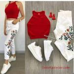 2019 Spor Ayakkabı Kombinleri Beyaz Yüksel Bel Nakışlı Pantolon Kırmızı Halter Yaka Kısa Bluz Beyaz Spor Ayakkabı