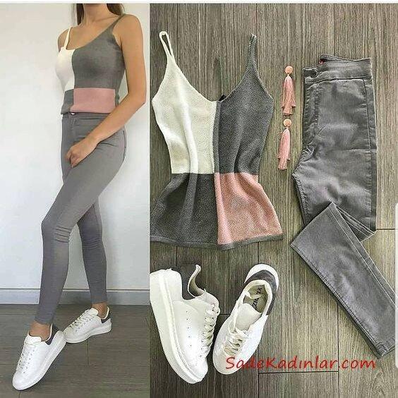 2019 Spor Ayakkabı Kombinleri Gri Yüksel Bel Kot Pantolon Gri Rnk Bloklu Askılı Bluz Beyaz Spor Ayakkabı