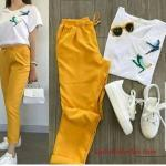 2019 Spor Ayakkabı Kombinleri Sarı Kumaş Pantolon Beyaz Bluz Beyaz Spor Ayakkabı