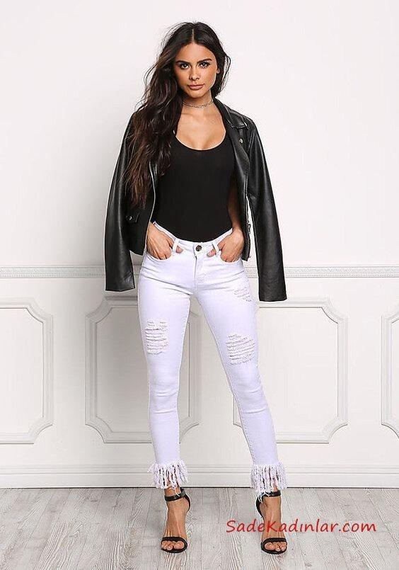 2021 Bayan Spor Kombinler Beyaz Skinny Pantolon Siyah Bluz Siyah Deri Ceket Siyah Stiletto Ayakkabı