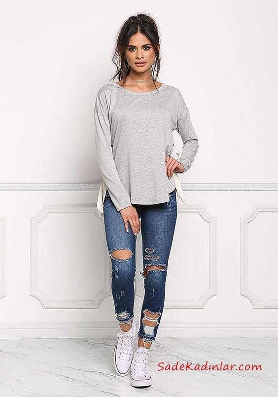2021 Bayan Spor Kombinler Lacivert Yırtık Skinny Pantolon Gri Salaş Bluz Beyaz Converse Spor Ayakkabı