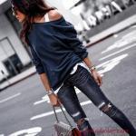 2019 Spor Kombinler Lacivert Yırtık Skinny Pantolon Lacivert Tek Omzu Açık Bluz