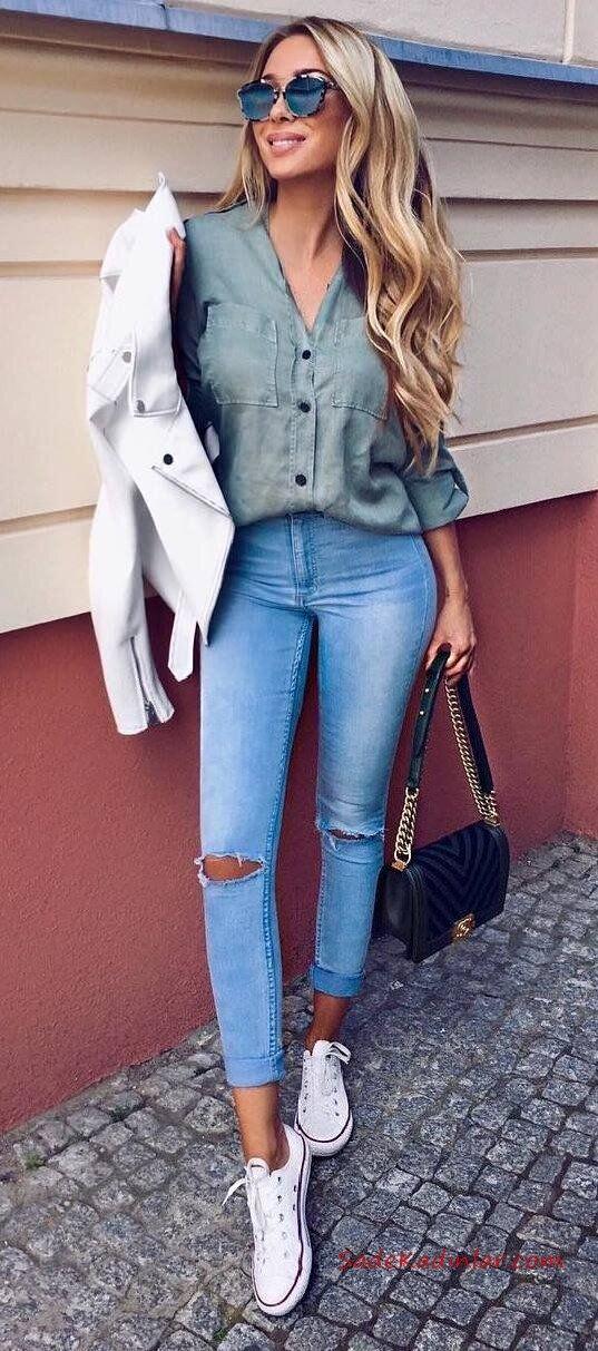 2021 Bayan Spor Kombinler Mavi Skinny Pantolon Yeşil Gömlek Beyaz Ceket Beyaz Converse Spor Ayakkabı