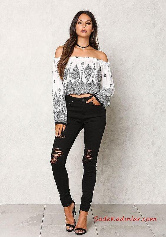 2021 Bayan Spor Kombinler Siyah Yırtık Yüksel Bel Pantolon Beyaz Straplez Uzun Kol Desenli Bluz Siyah Topuklu Ayakkabı