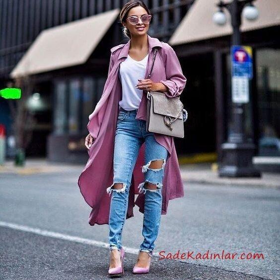 2019 Trençkot Kombinleri Mavi Yırtık Kot Pantolon Beyaz V Yaka Bluz Mor Trençkot Mor Stiletto Ayakkabı