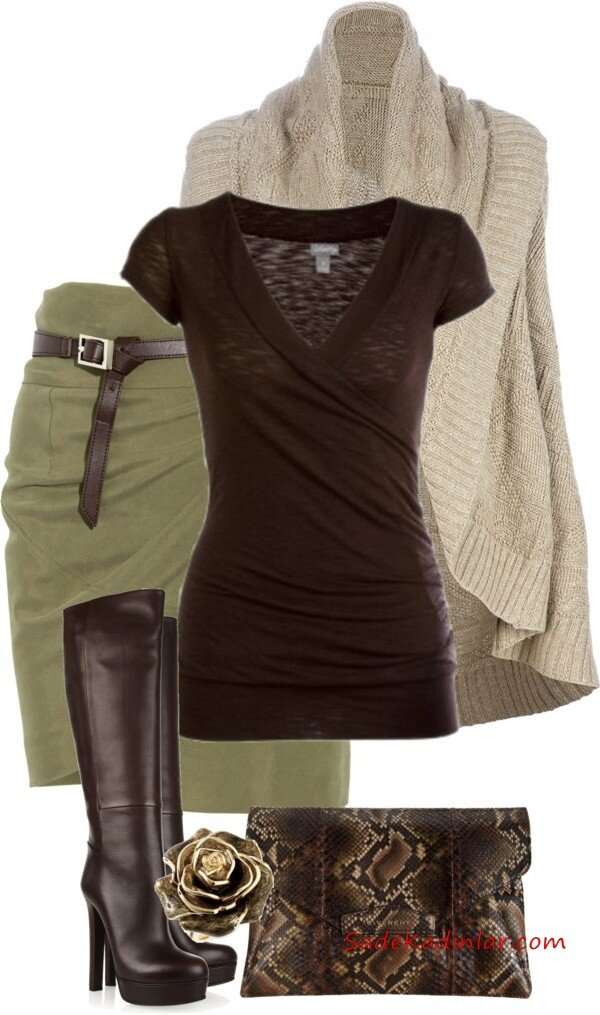 2021 Bayan Triko Kazak Kombinleri Yeşil Kısa Etek Kahverengi Bluz Krem Hırka Kahverengi Uzun Deri Çizme