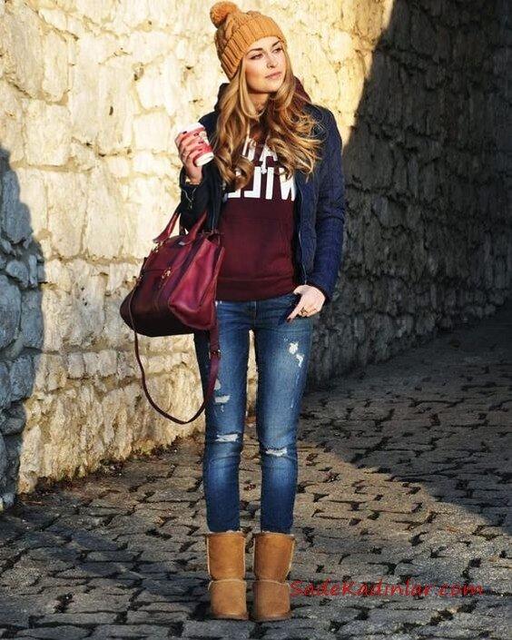 2019 Ugg Bayan Bot Kombinleri Lacivert Skinny Jean Bordo Swetshirt Lacivert Ceket Camel Ugg Bot