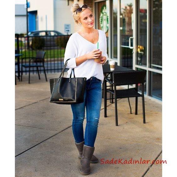 2019 Ugg Bayan Bot Kombinleri Mavi Kot Pantolon Beyaz V Yaka Kazak Gri Ugg Bot