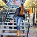 2019 Ugg Bayan Bot Kombinleri Mavi Skinny Kot Pantolon Siyah Kazak Siyah Kısa Deri Ceket Camel Ugg Bot