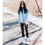 2019 Ugg Bayan Bot Kombinleri Siyah Yırtık Skinny Jean Mavi Kazak Beyaz Ugg Bot