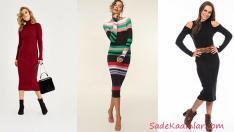 2019 Uzun Triko Elbise Kombinleri Şık Ve Tarz