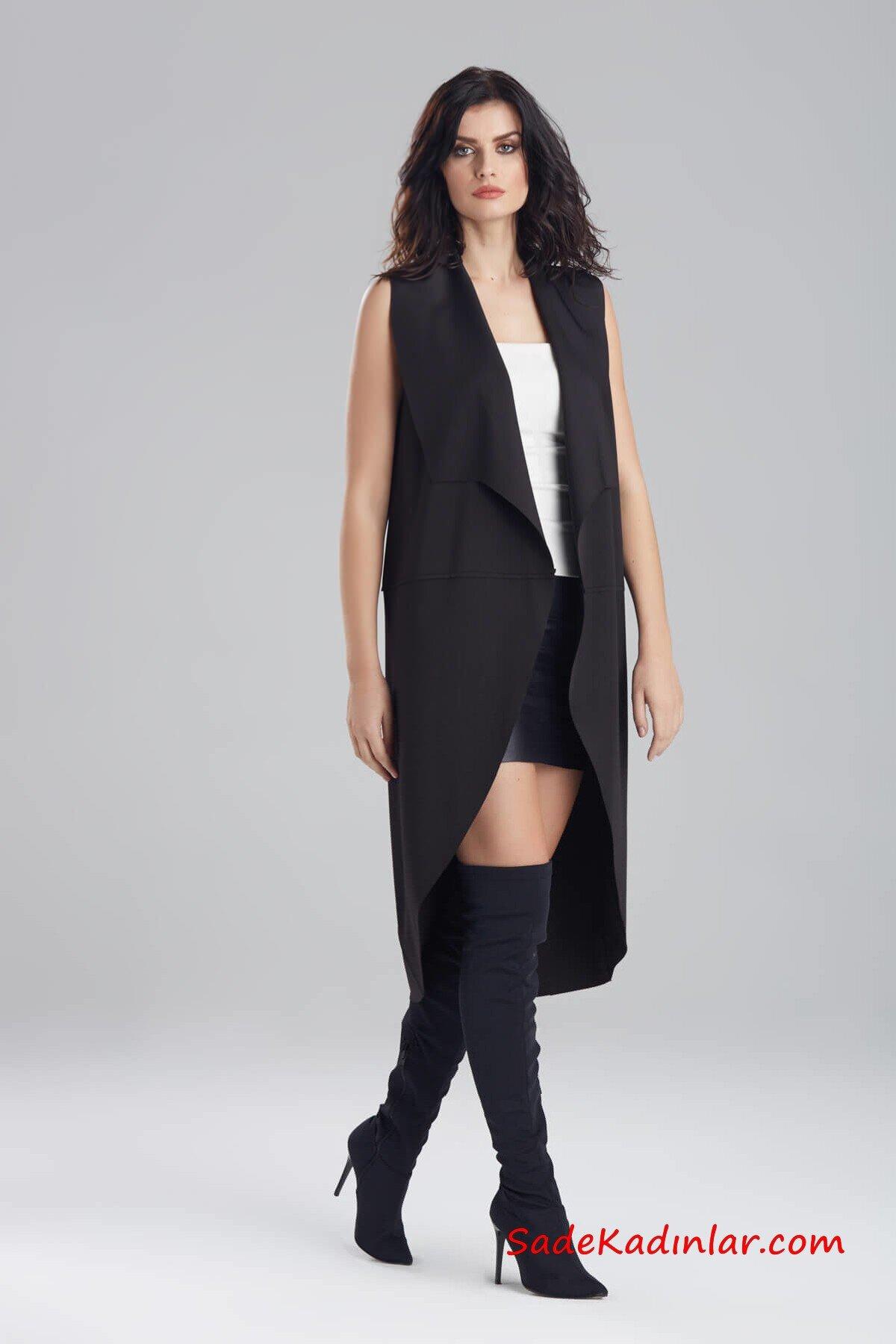 2019 Uzun Yelek Kombinleri Siyah Mini Etek Beyaz Bluz Siyah Yelek Siyah UZun