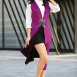 2019 Uzun Yelek Kombinleri Siyah Mini Etek Beyaz Gömlek Mor Yelek Beyaz Stiletto Ayakkabı
