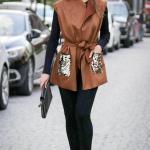 2019 Uzun Yelek Kombinleri Siyah Skinny Pantolon Siyah Kazak Kahverengi Süet Yelek Siyah Topuklu Ayakkabı