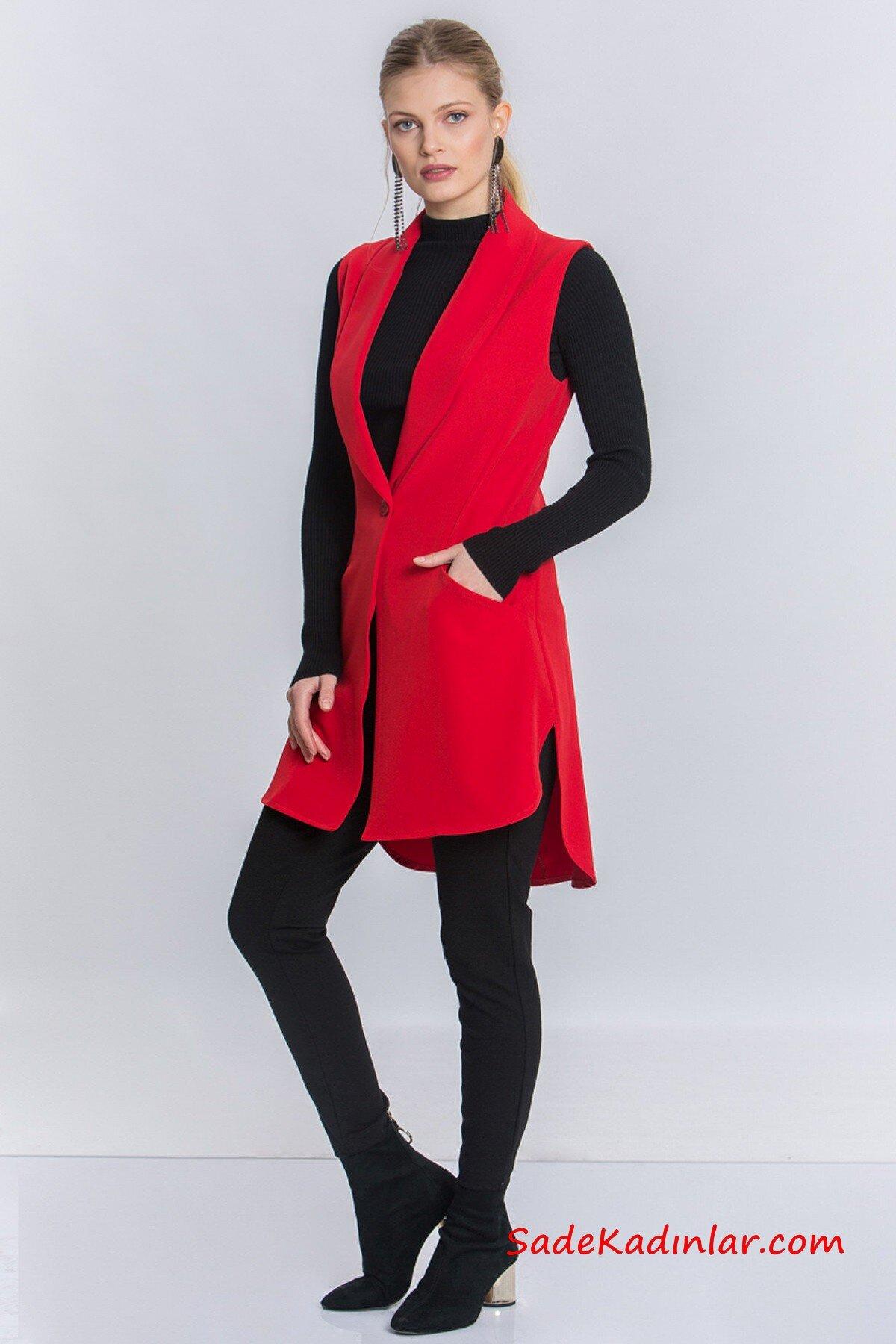 2019 Uzun Yelek Kombinleri Siyah Yüksel Bel Pantolon Siyah KAzak Kırmızı Cepli Yelek Siyah Topuklu Bot