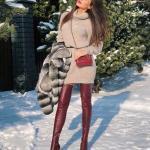 2021 Uzun Çizme Kombinleri Bordo Uzun Deri Çizme Vizon Uzun Bopğazlı Triko Elbise