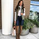 2021 Uzun Çizme Kombinleri Kahverengi Nubuk Uzun Çizme Lacivert Skinny Pantolon Beyaz Kazak Yeşil Yelek