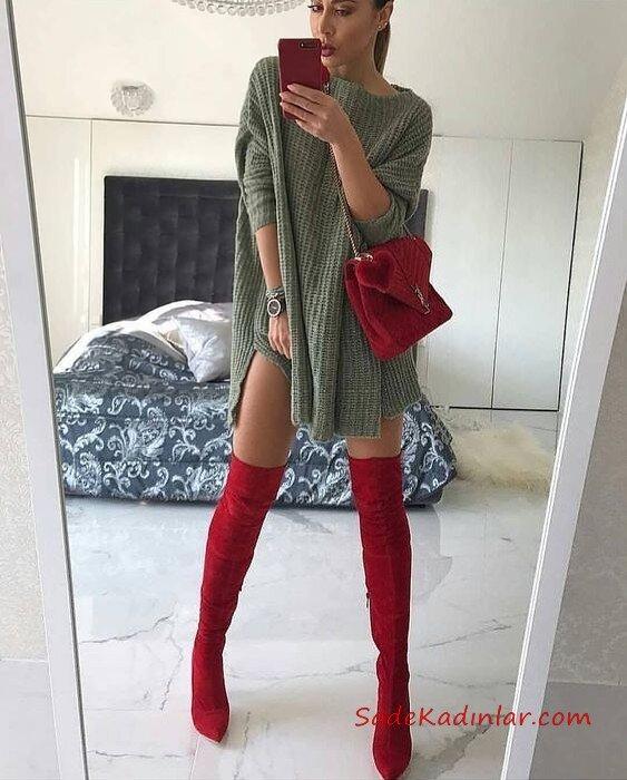 2019 Uzun Çizme Kombinleri Kırmızı Uzun Çizme Yeşil Kısa Salaş Kayık Yaka Triko Elbise