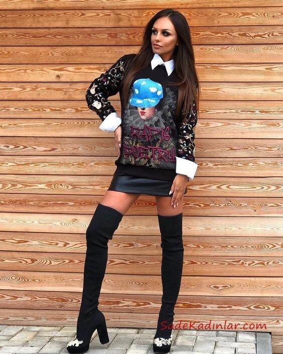 2019 Uzun Çizme Kombinleri Siyah Uzun Çorap Çizme Siyah Deri Kısa Etek Siyah Uzun Kol Gömlek