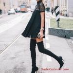 2021 Uzun Çizme Kombinleri Siyah Uzun Çorap Çizme Siyah Kısa Pileli Elbise