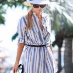 2020 Yazı İçin Muhteşem Gömlek Elbise Kombinleri Beyaz Uzun Kol Çizgili Belden Kemer Detaylı