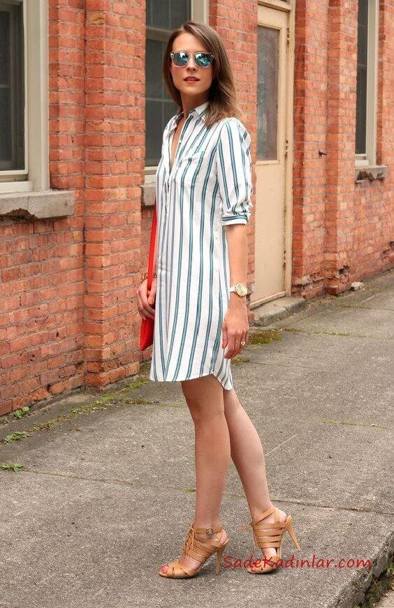 2019 Yazı İçin Muhteşem Gömlek Elbise Kombinleri Beyaz Uzun Kol Çizgili Gömlek Kahverengi Topuklu Ayakkabı