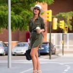 2020 Yazı İçin Muhteşem Gömlek Elbise Kombinleri Yeşil Uzun Kol Cepli Belden Kemer Detaylı Vizon Stiletto Ayakkabı