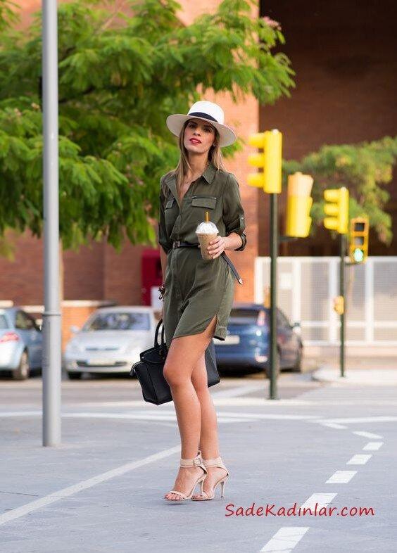 2021 Yazı İçin Muhteşem Gömlek Elbise Kombinleri Yeşil Uzun Kol Cepli Belden Kemer Detaylı Vizon Stiletto Ayakkabı