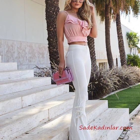 2021 İspanyol Paça Pantolon Kombinleri Beyaz İspanyol Pantolon Pembe Askılı Fırfır Detaylı Kısa Bluz