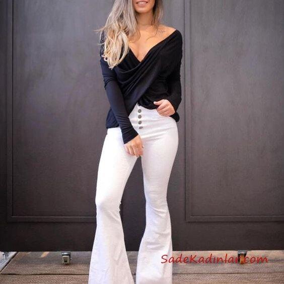 2021 İspanyol Paça Pantolon Kombinleri Beyaz İspanyol Pantolon Siyah V Yaka Uzun Kollu Bluz