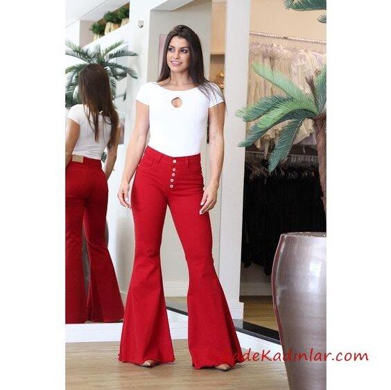 2021 İspanyol Paça Pantolon Kombinleri Kırmızı İspanyol Pantolon Beyaz Kısa Kol Tişört Vizon Stiletto Ayakkabı
