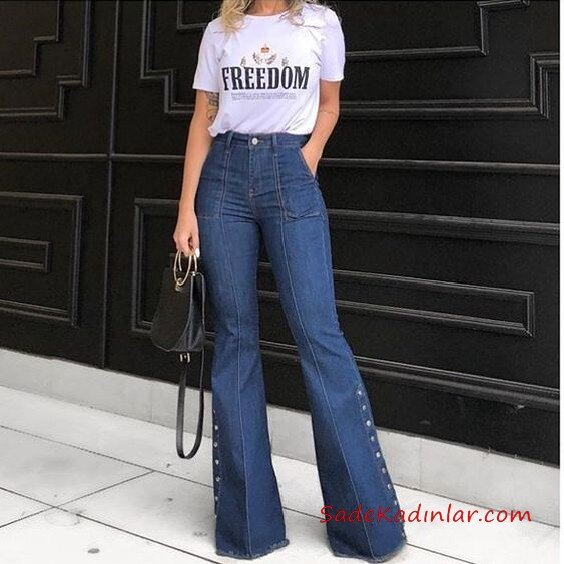 2021 İspanyol Paça Pantolon Kombinleri Lacivert İspanyol Pantolon Beyaz Kısa Kollu Tişört